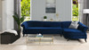 Victoria Upholstered Right Sectional Sofa, Navy Blue