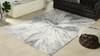 """Glint 6.5"""" x 9.5"""" Abstract Area Rug, Gray & Cream White Polypropylene"""