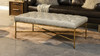"""Aerin 48"""" Hammered Gold Tufted Cocktail Ottoman, Warm Gray"""