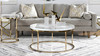 Dendros Live Edge Mimic Round Coffee Table, Gold & Acrylic