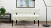 Jared Roll Arm Tufted Bench Settee,  Flax White & Beige