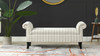 Kathy Roll Arm Entryway Accent Bench,  Flax White & Beige