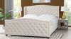 Marcella Upholstered Shelter Headboard Bed Set, King, French Beige