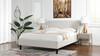Aspen Vertical Tufted Headboard Platform Bed Set, Queen,  Flax White & Beige