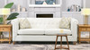 "Shiloh 84"" Farmhouse Chesterfield Sofa, Alabaster Off White Tweed"