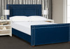 Elle Wingback Upholstered Bed, Queen, Navy Blue