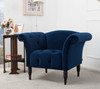 Danica Roll Arm Accent Chair, Navy Blue