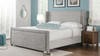 Elle Wingback Upholstered Bed, King, Silver Grey