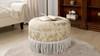 Yolanda Decorative Round Ottoman, Jacquard, Neutral