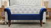 Elise Roll Arm Entryway Bench, Navy Blue
