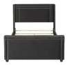 Elle Wingback Upholstered Bed, Queen, Dark Charcoal Grey