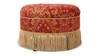 Yolanda Decorative Round Ottoman, Jacquard, Red & Gold