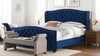 Marcella Tufted Wingback Upholstered Bed, King, Navy Blue