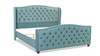 Marcella Tufted Wingback Upholstered Bed, King, Arctic Blue