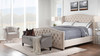 Marcella Tufted Wingback Upholstered Bed, King, Sky Neutral
