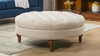 Lana Tufted Round Cocktail Ottoman, Sky Neutral