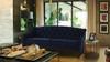 Ken Upholstered Button Tufted Sofa, Dark Navy Blue