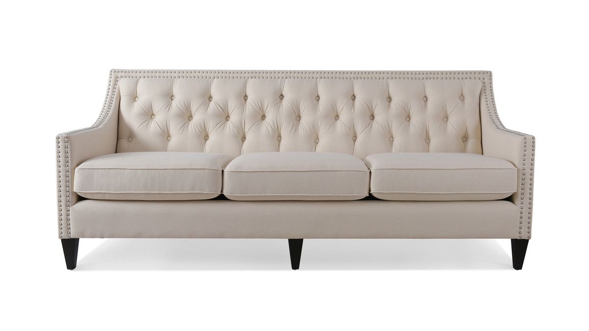 "Marianne 84"" Tufted Sofa Nailhead Accents"