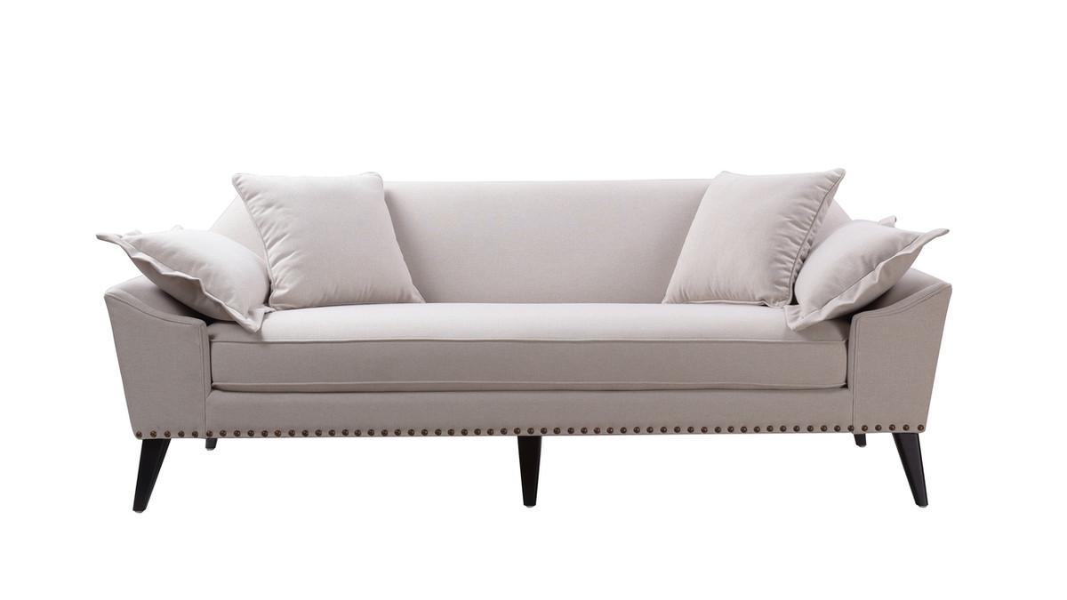 Remington Mid-Century Tuxedo Sofa, Bone White