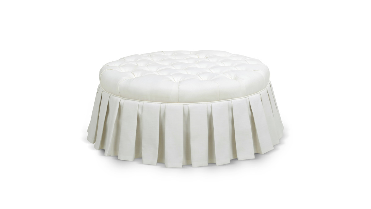Luciana Tufted Cocktail Ottoman with Skirt, Antique White