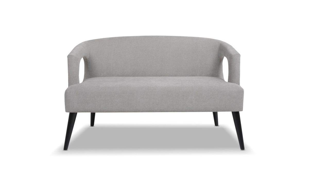 Malachi Mid-Century Modern Upholstered Settee, Silver Grey