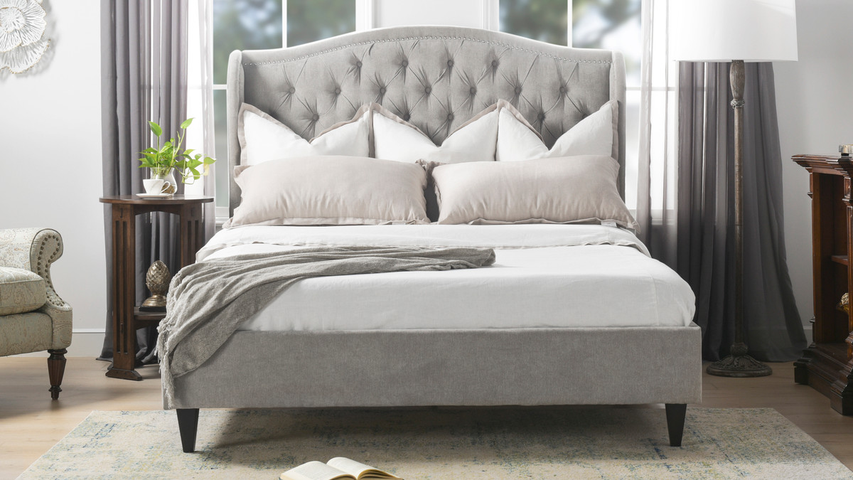 Coverley Tufted Wingback Platform Bed Queen Silver Grey Jennifer Taylor Home