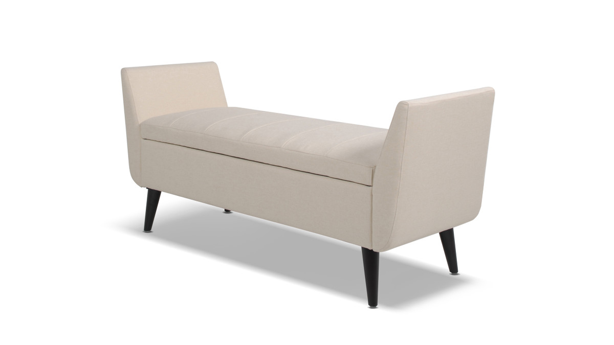 Duff Mid-Century Modern Upholstered Flip Top Storage Bench, Sky Neutral