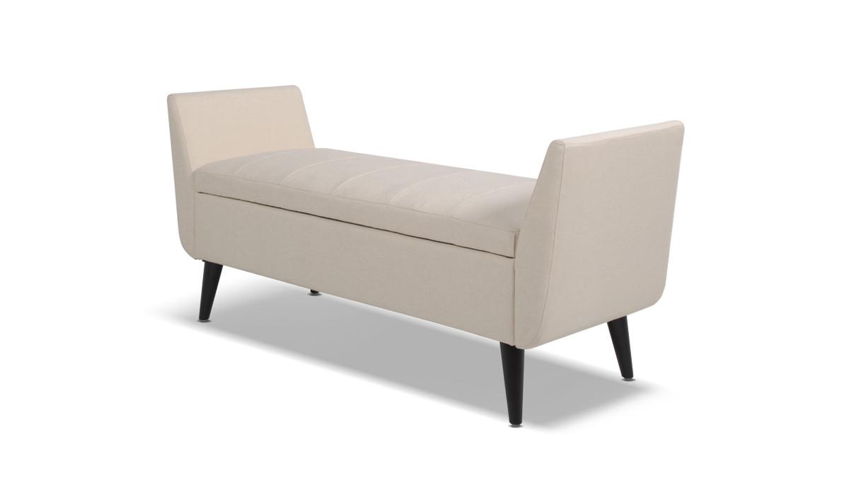 Duff Mid-Century Modern Upholstered Flip Top Storage Bench, Sky Neutral