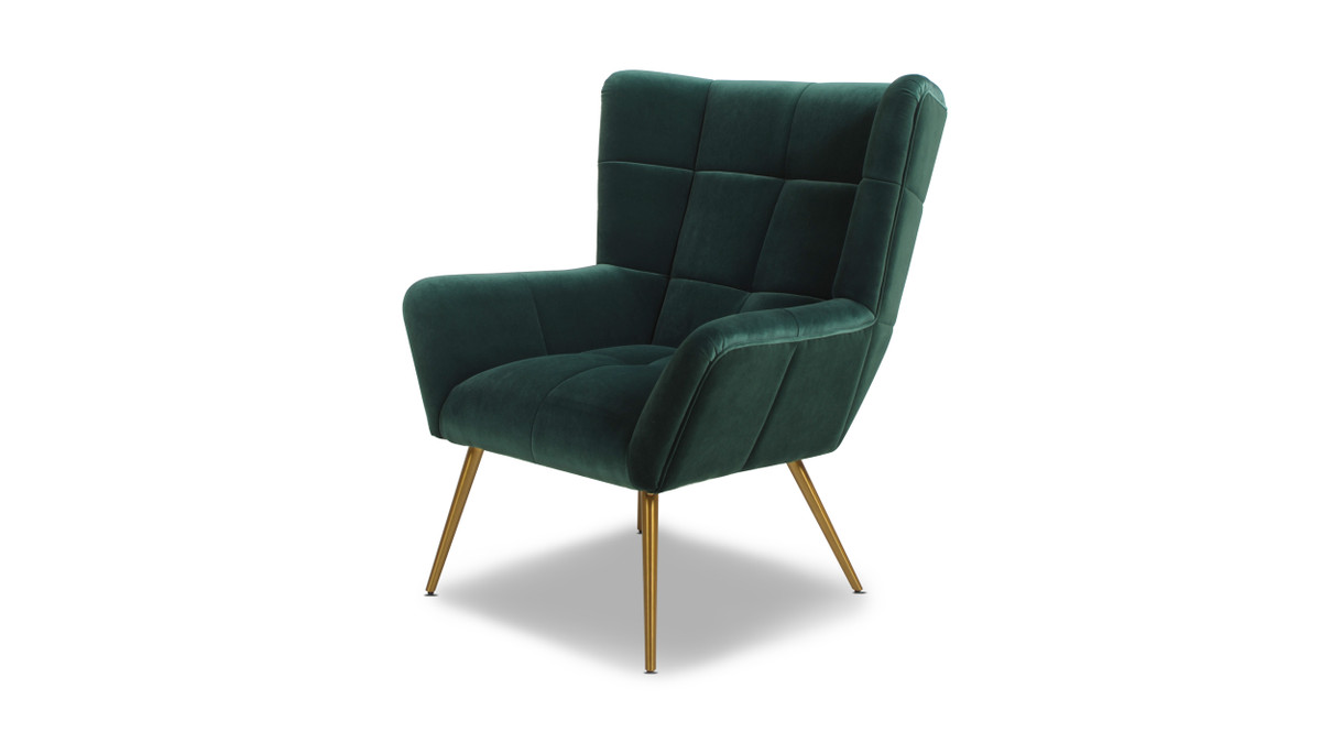 Gerald Mid-Century Modern Tufted Wingback Armchair, Forest Green