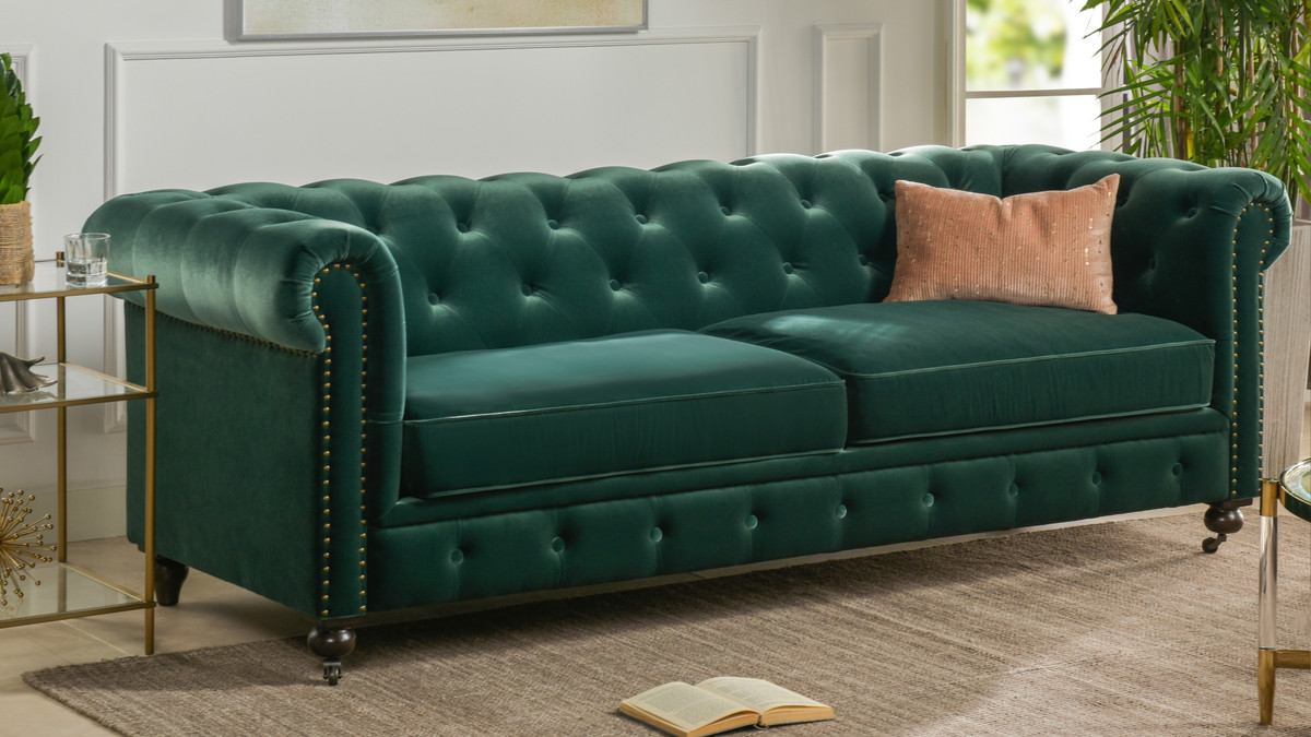 Winston Tufted Chesterfield Sofa Forest Green Jennifer Taylor Home