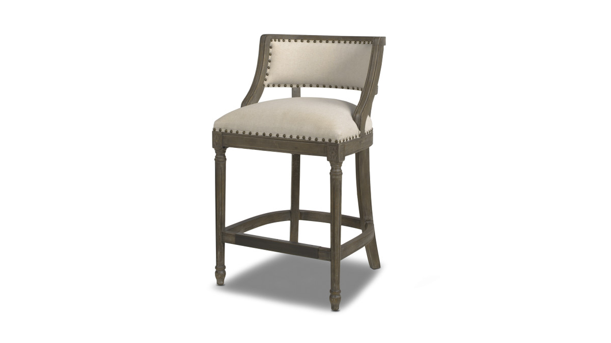 "Paris 26"" Farmhouse Counter Height Bar Stool with Backrest, Light Beige"