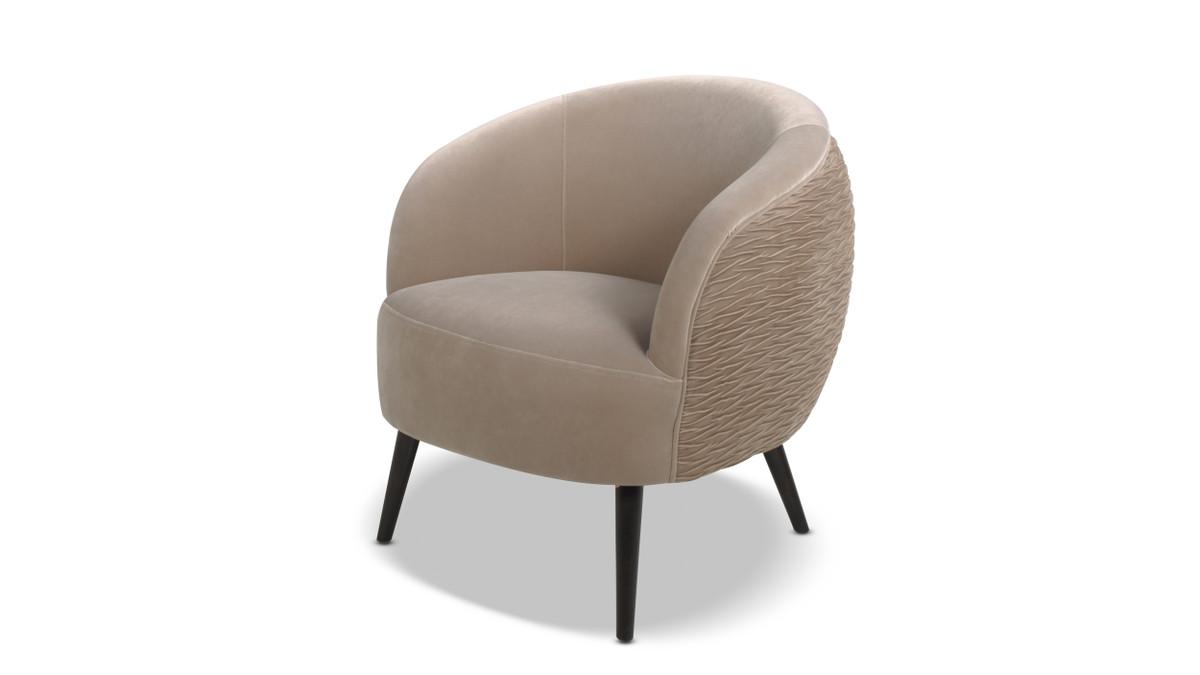 London Mid-Century Modern Ruched Barrel Chair, Mink Beige