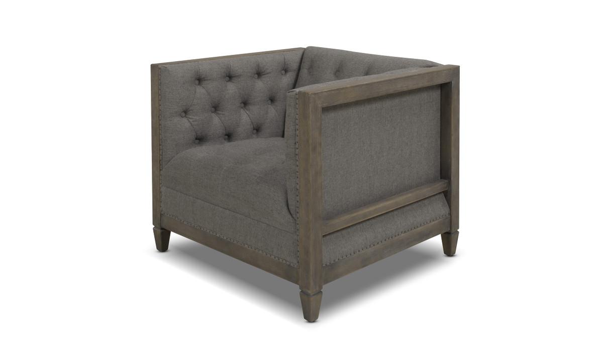 Sylvan Tuxedo Armchair, Wood Base, Dark Heathered Grey