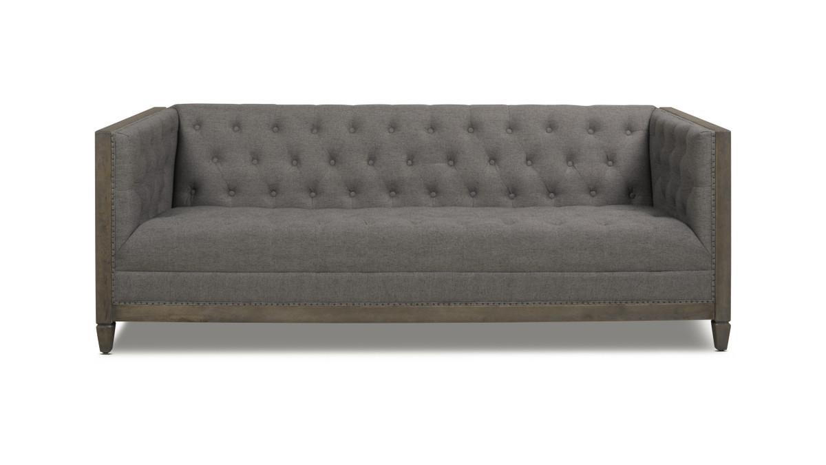 Sylvan Tuxedo Sofa, Wood Base, Dark Heathered Grey