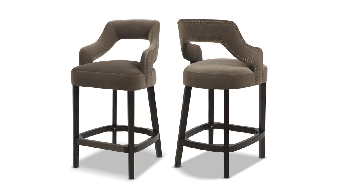 """Moderne 26"""" Upholstered Bar Stool (Set of 2), Deep Mink"""