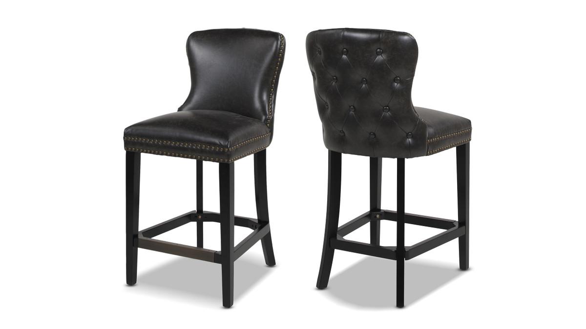 "Sonoma 26"" Upholstered Counter Height Bar Stool (Set of 2), Vintage Black Brown"