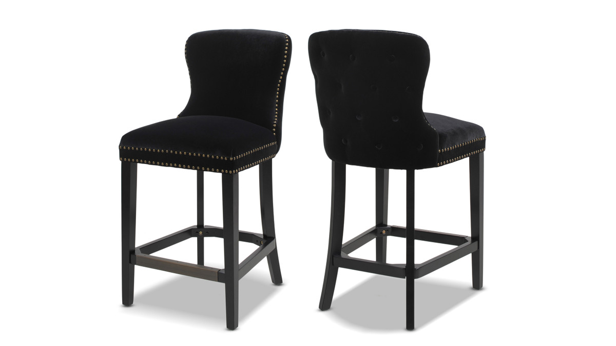 "Sonoma 26"" Upholstered Counter Height Bar Stool (Set of 2), Onyx Black"