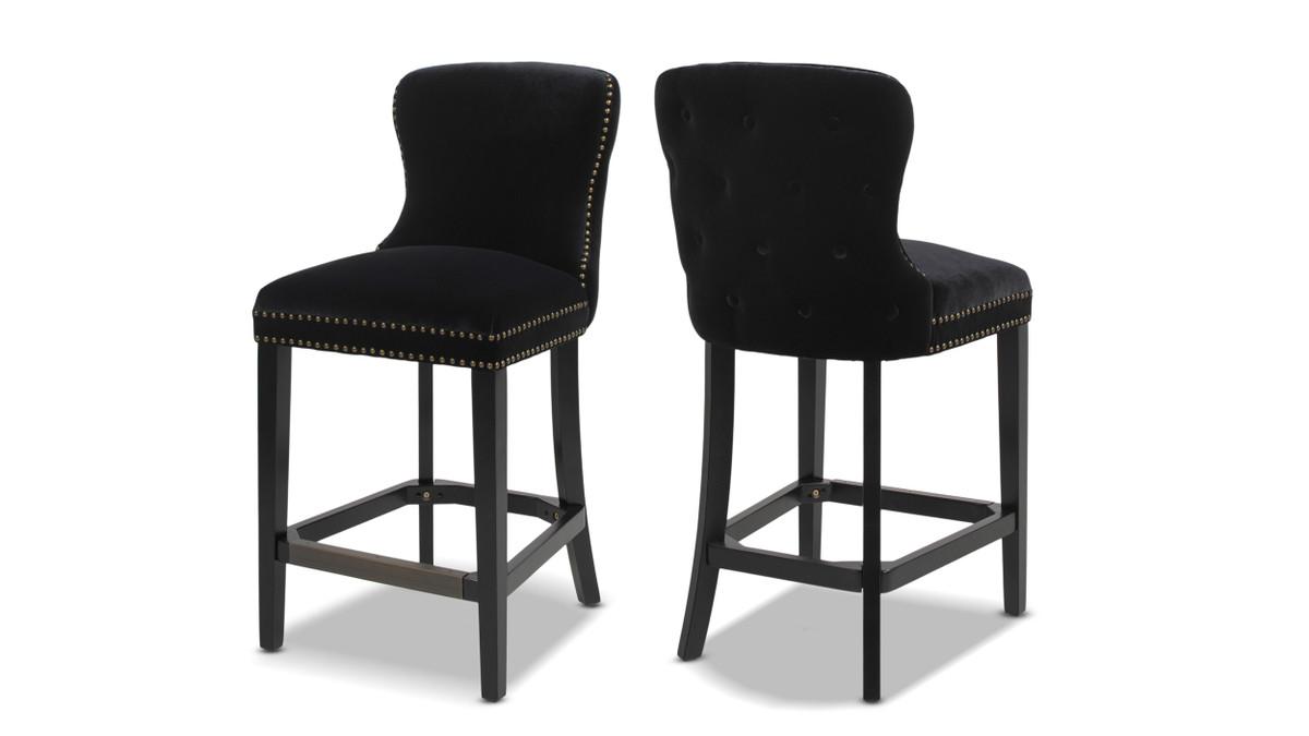 "Sonoma 26"" Upholstered Counter Height Bar Stool (Set of 2), Onyx Black"