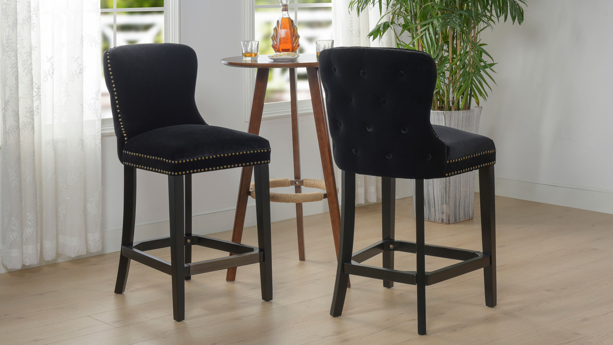 Enjoyable Sonoma 26 Upholstered Counter Height Bar Stool Set Of 2 Onyx Black Gmtry Best Dining Table And Chair Ideas Images Gmtryco