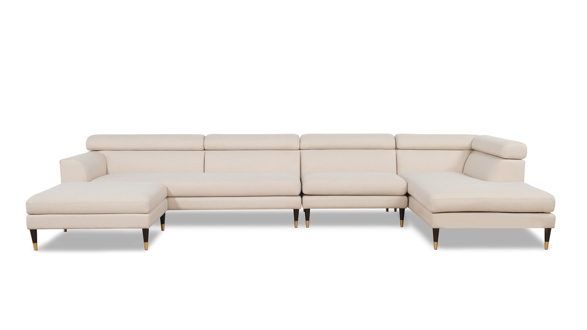 Bartelt RAF Modular Modern Sectional Chaise Sofa, Sky Neutral