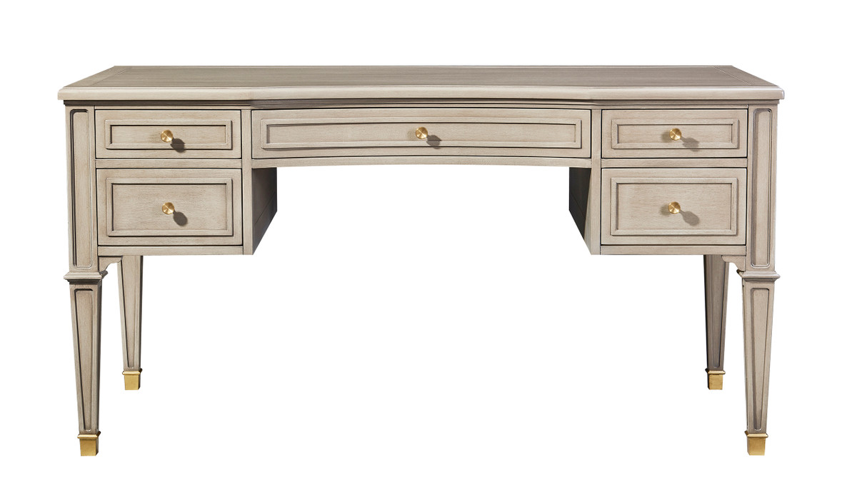Dauphin Gold Accent 5-Drawer Wood Desk, Grey Cashmere
