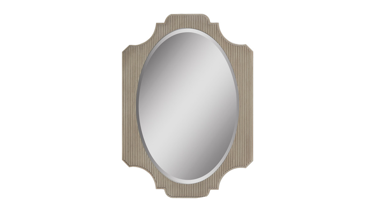 """Dauphin 26"""" Fluted Oval Vanity Wall Mirror, Grey Cashmere"""