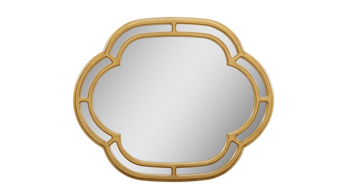 """Dauphin 33.5"""" Scalloped Gold Accent Wall Mirror, Golden Oak"""