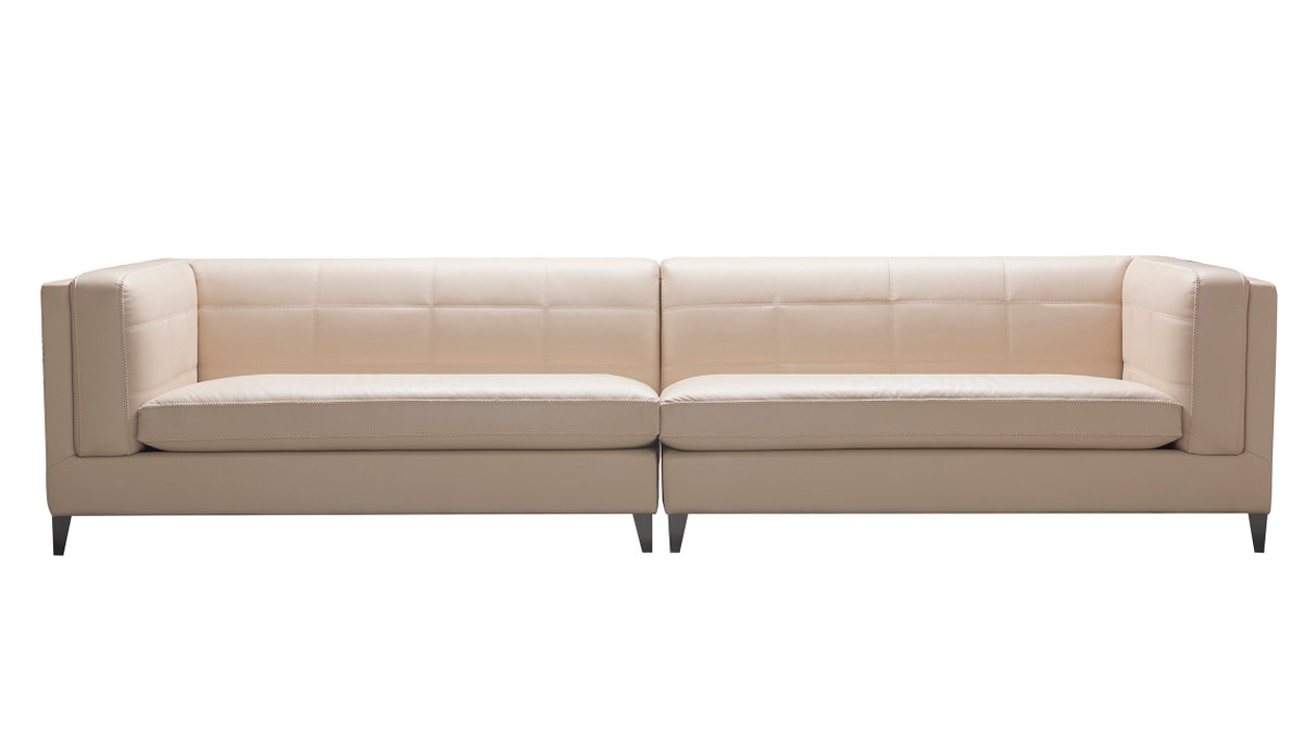 """Esquire 119"""" Top Grain Leather 4-Seater Sectional Sofa, Fawn Beige"""