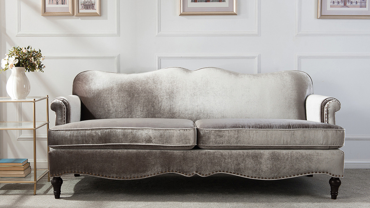 Legacy Camel Back Sofa Grey Jennifer Taylor Home