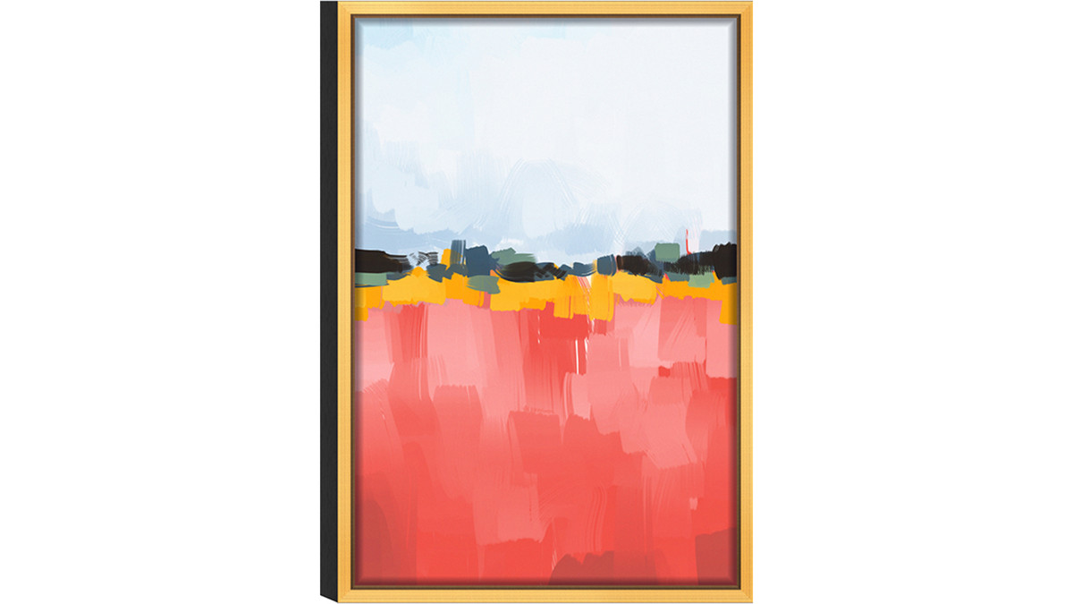 """Abstract Dusk Acrylic Glass Art, Gold Frame Wall Art, 16"""" x 24"""", Coral White"""