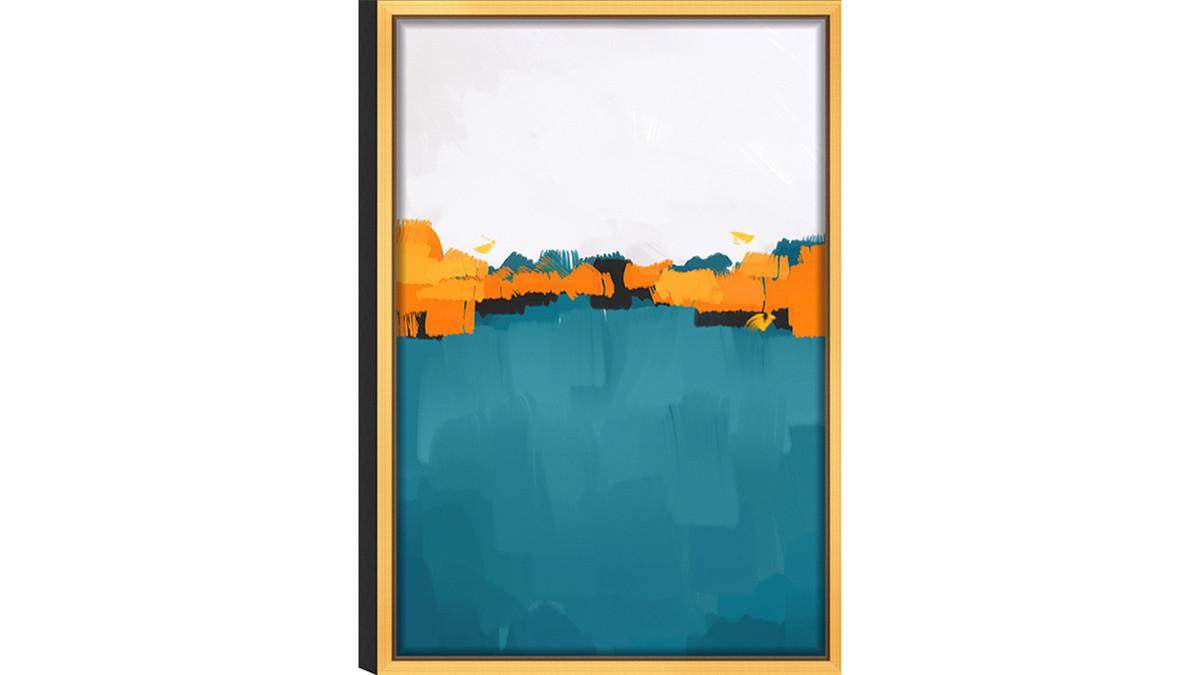 "Abstract Dawn Acrylic Glass Art, Gold Frame Wall Art, 16"" x 24"", Teal Orange"