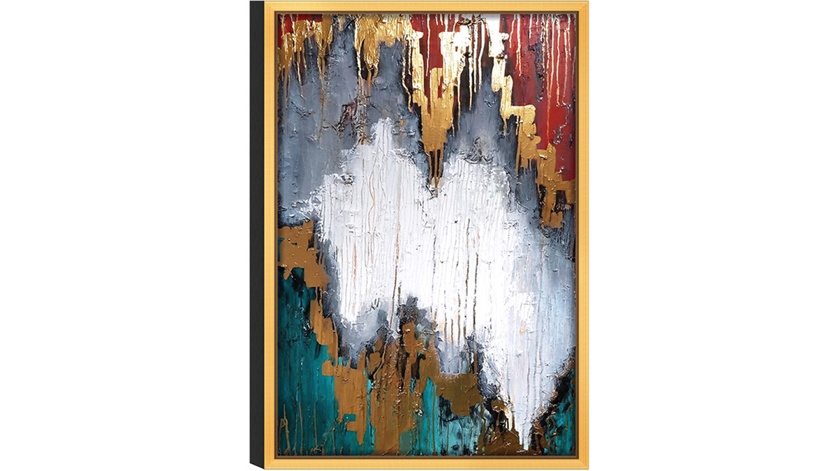 "Expressionist Piece No. 1 Print, Gold Frame Wall Art, 32"" x 48"", Red Gold Teal"