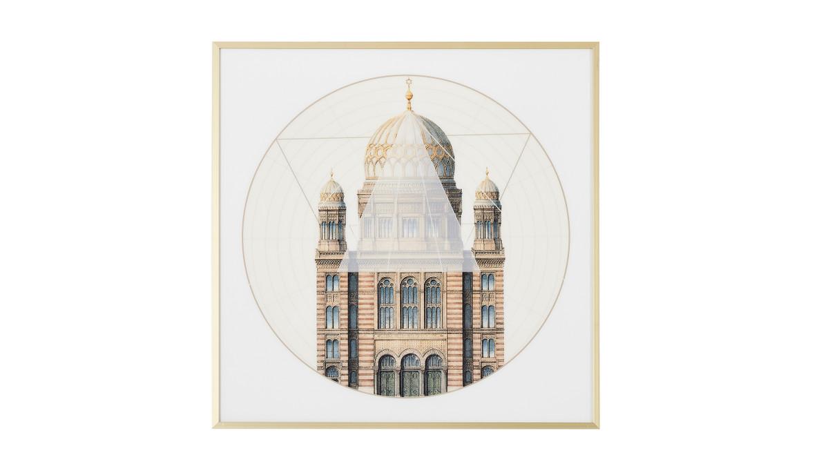 "Geometric Architecture No. 2 Print, Gold Frame Wall Art, 24"" x 24"""