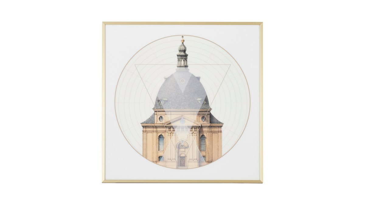 "Geometric Architecture No. 1 Print, Gold Frame Wall Art, 24"" x 24"""